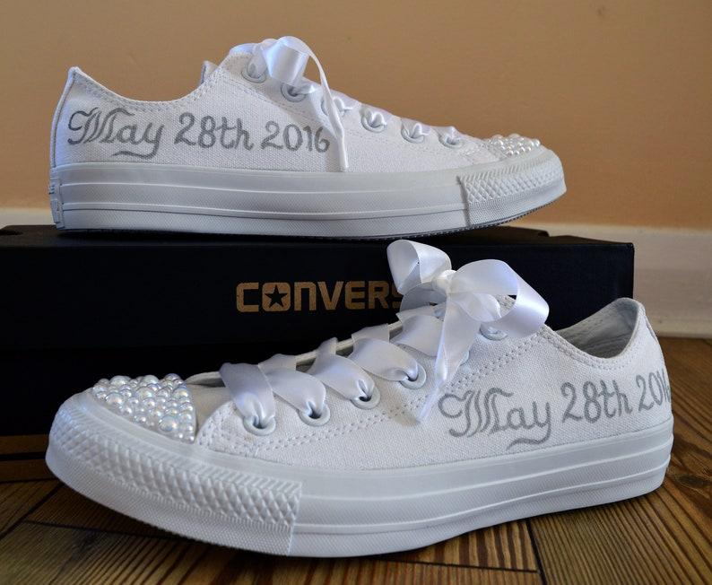 ca2cee1aff44 Custom Converse Wedding bridal shoes with wedding date satin