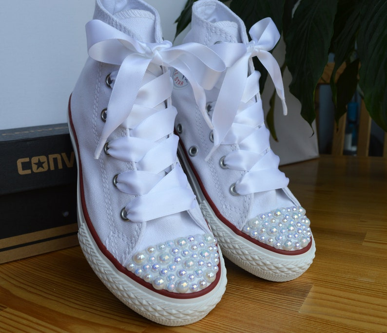 ab3367860609e Custom Converse shoes with white Pearls and satin ribbon shoelaces.