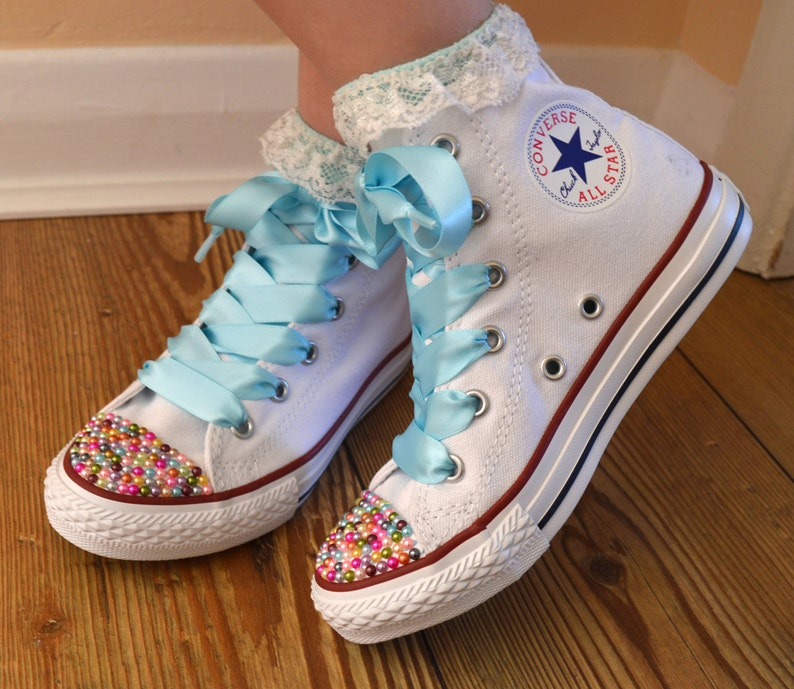 9abde10ad7cc5 Children Custom Converse shoes with Colourful Pearls and satin ribbon  shoelaces.