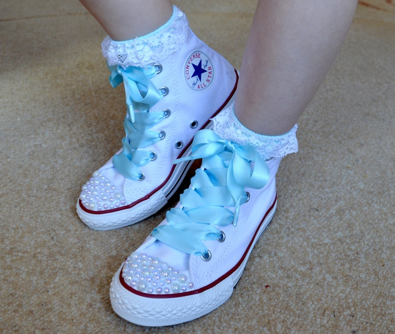 18166b10ed766 Children Custom Converse shoes with white Pearls and blue satin ribbon  shoelaces.