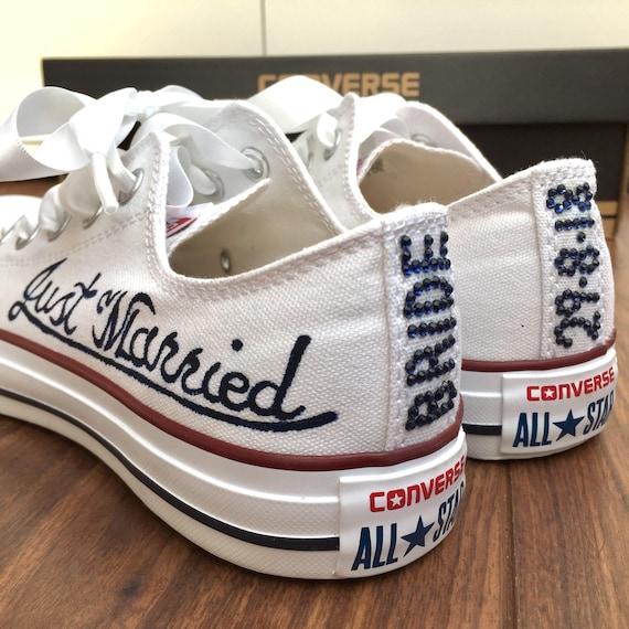 Custom Converse Wedding Bridal Shoes With Crystal Writing