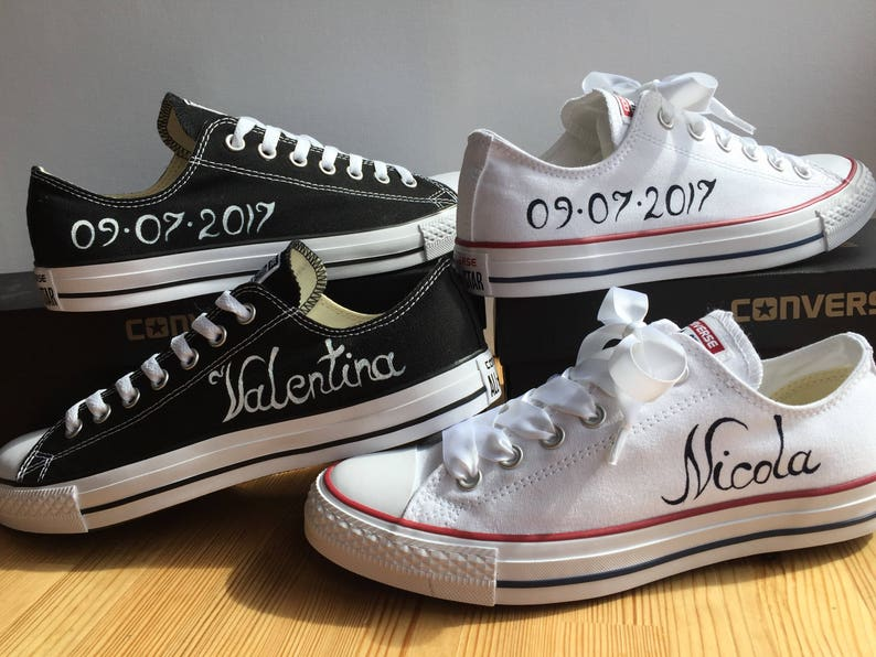 5867bec46088 Custom Converse Groom and Bride shoes with white satin ribbon