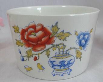 Vintage English Mason's Ironstone Chinese Peony Round Pot Jewelry dish Trinket dish - Colorful