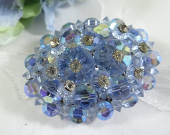 Blue Faceted Rhinestone Brooch Pin on a Silver Tone Setting - Lovely