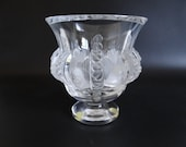 Vintage Signed Lalique Frosted Glass quot Dampierre quot Pedestal Crystal Glass Vase Lalique Vase French Crystal Vase - DP1