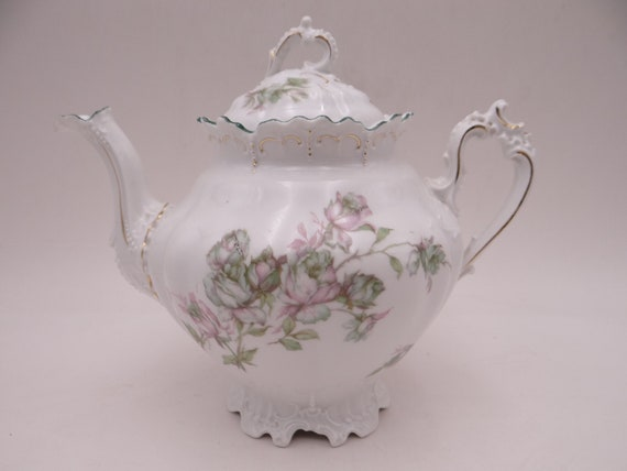 1880s Antique Vintage MZ Austria Teapot Creamer and Sugar Bowl Tea Set -  Fabulous