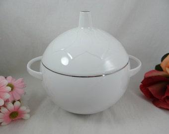 Vintage Rosenthal Lotus Platinum Covered Vegetable Bowl- Mid Century Modern