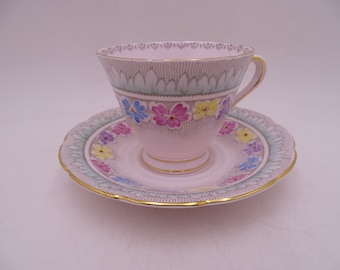 1950s Tuscan English Bone China Colorful Teacup and Saucer Set with Enamel Accents Stunning English Tea Cup