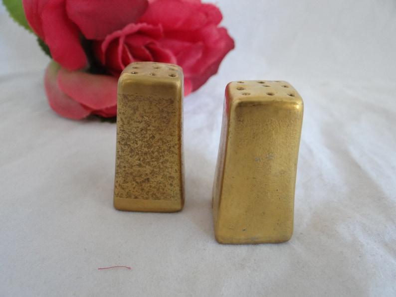 Vintage Ceramic Gold Tone Salt and Pepper Shakers