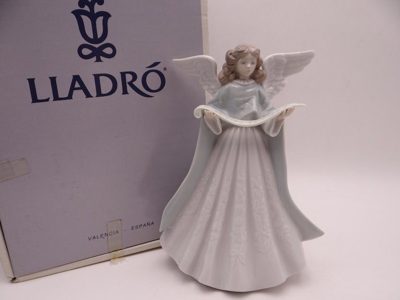 Superb Lladro Christmas Tree Topper Singer Angel Figurine ...