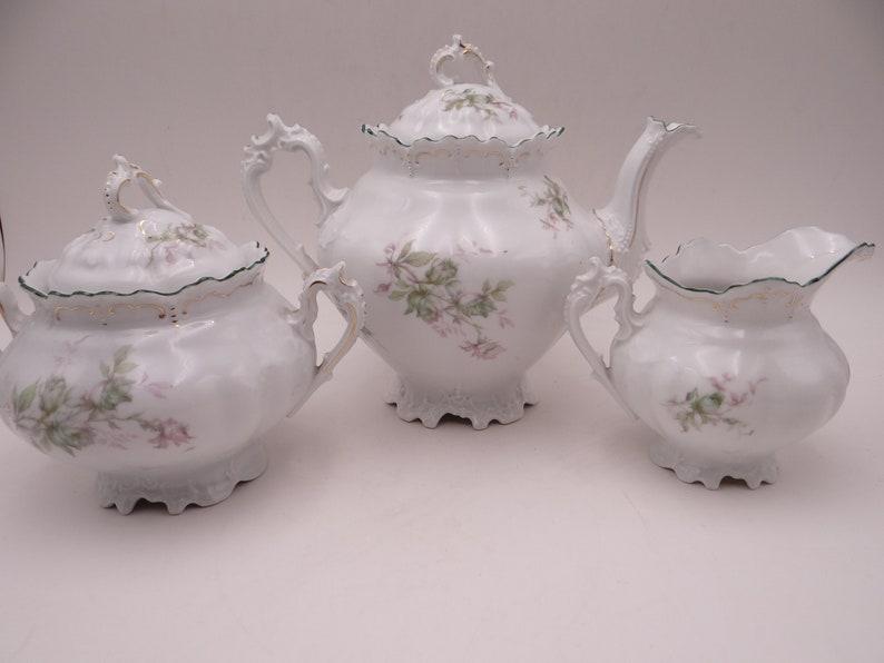 1880s Antique Vintage MZ Austria Teapot Creamer and Sugar Bowl Tea Set -  Fabulous