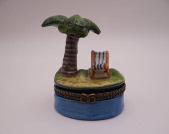 Vintage Day at the Beach Hand Painted Trinket Box Pill Box - So cute