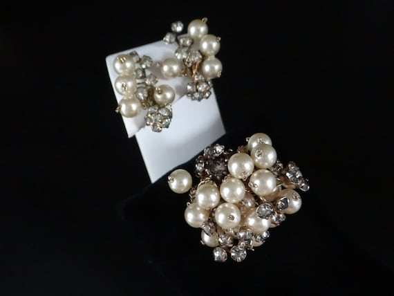 Gorgeous 1930\u2019s Antique Extremely Light Camellia Earrings and Brooch Set