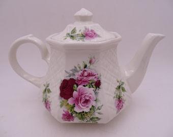 Large Vintage Sadler English Bone China Pink and Red Rose Bouquet Porcelain Teapot - Anyone for Tea