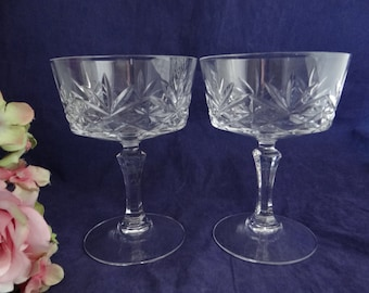 Two Clear Glass Tall Champagne Glasses Sherbet Dishes - Tall Champagne Glasses - Sherbet Dishes - 3 Pairs of These Available