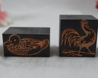 Vintage Set of 6 Chicken and Duck  Copper Print Blocks - Stamp block
