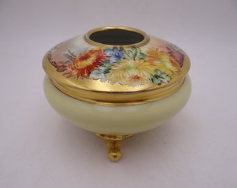 Vintage GDA Limoges France Hand Painted Hair Tidy or Jewelry Box Dish
