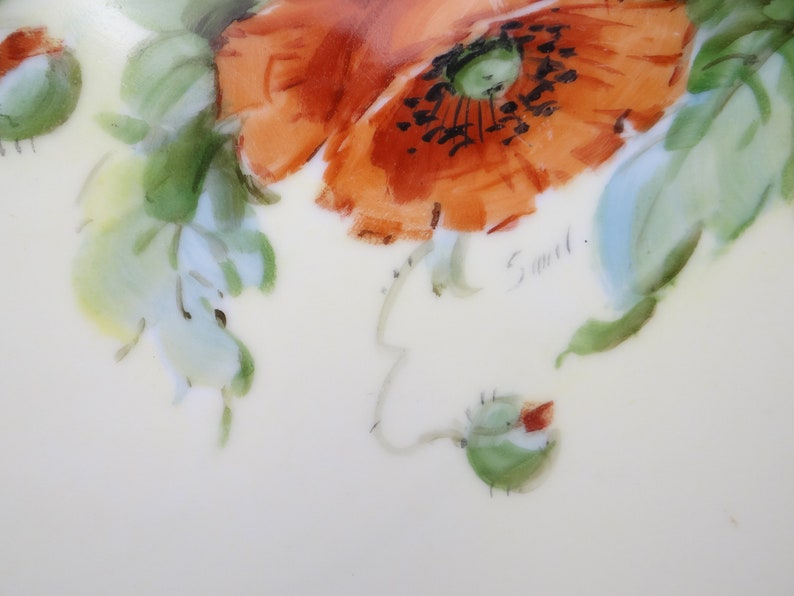 Vintage Hutschenreuther Favorite Series Factory Decorated Hand Painted Red Poppy Small Plate Artist Signed