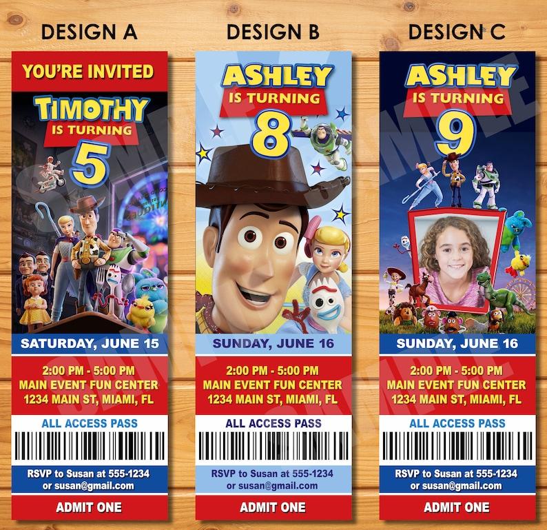 Nouveau Toy Story 4 Anniversaire Ticket Invitation Invitation Billet Imprimable Toy Story 4