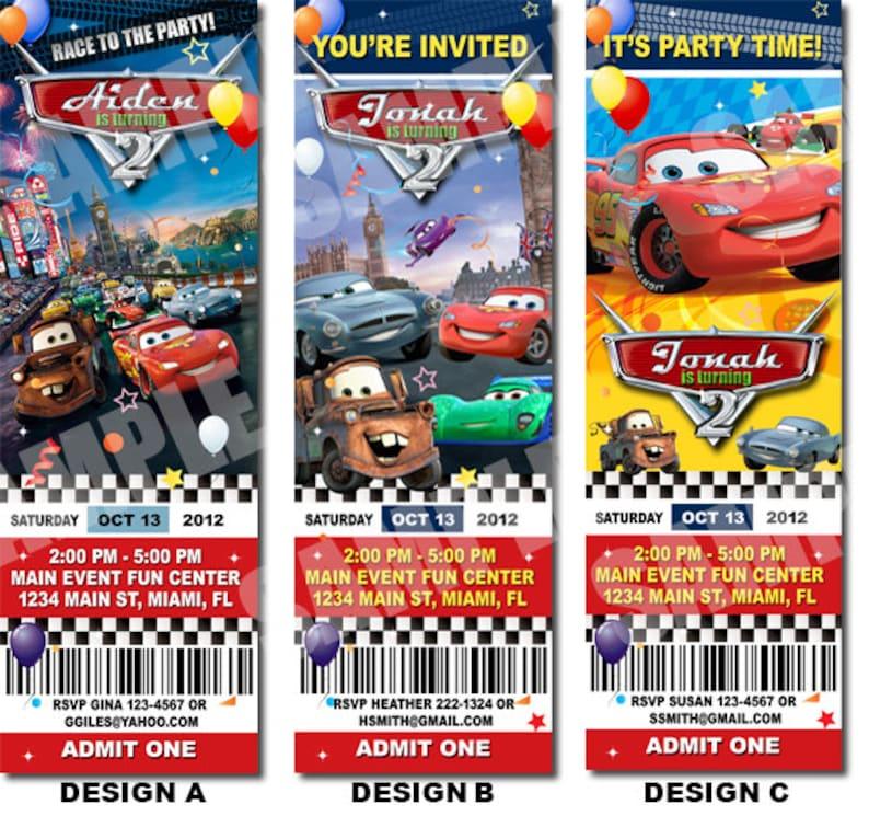 Disney Cars Birthday Ticket Invitation Printable
