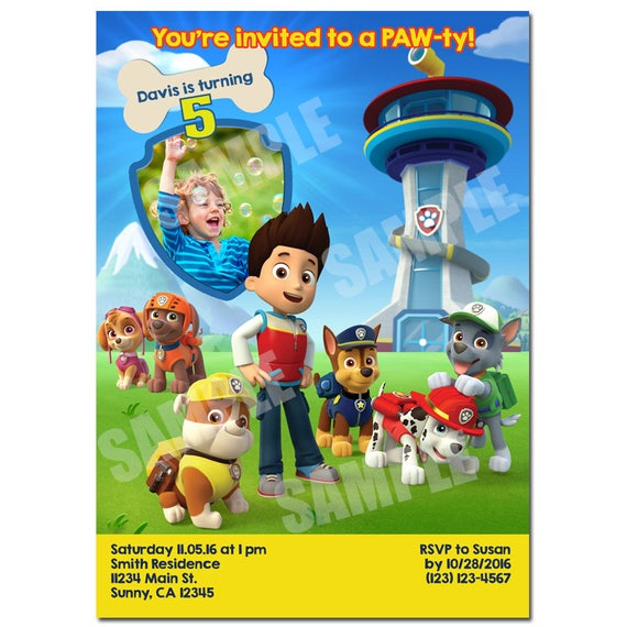 Paw Patrol Invitation Printable Birthday