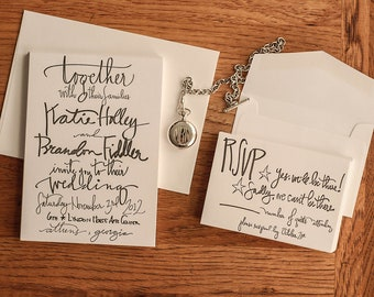 Calligraphy Letterpress Wedding Invitation Sample