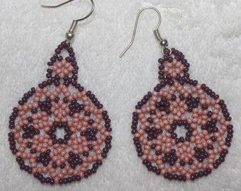 Huichol Peyote Beaded Earrings X-1