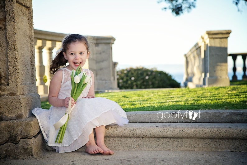 peach black white and ivory The Emma Elizabeth Lace Flower Girl Dress for toddlers and girls from 2-12 years old