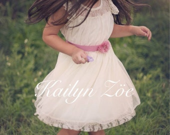 The Olivia IVORY Flower Girl Lace Dress, made for girls, toddlers, infants, ages 2T,3T,4T,5T