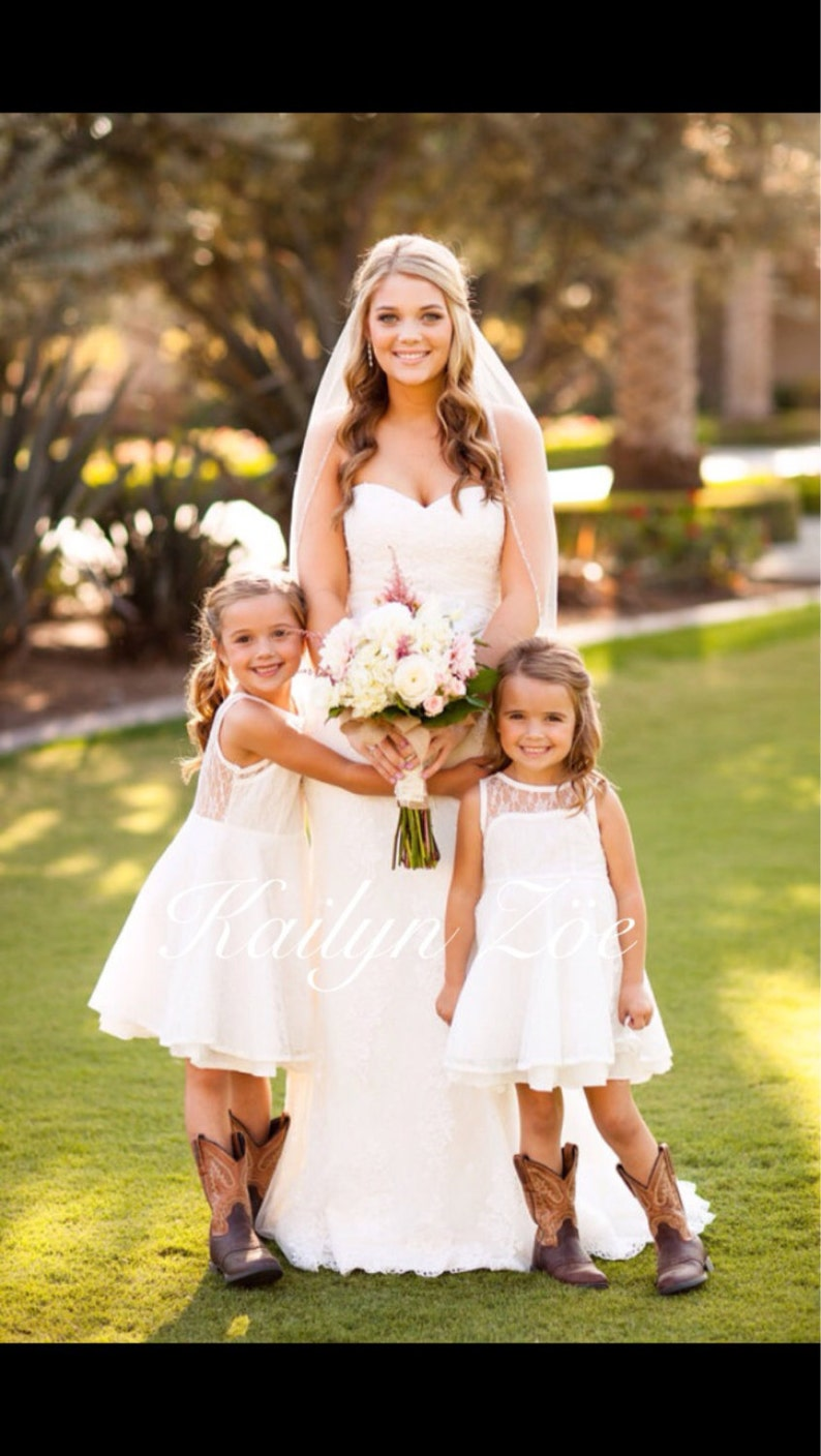 The Emma Elizabeth Lace Flower Girl Dress for toddlers and image 0