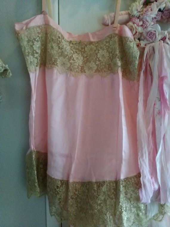 Vintage Pink Silk and Lace Chemise Ribbon Work Lar
