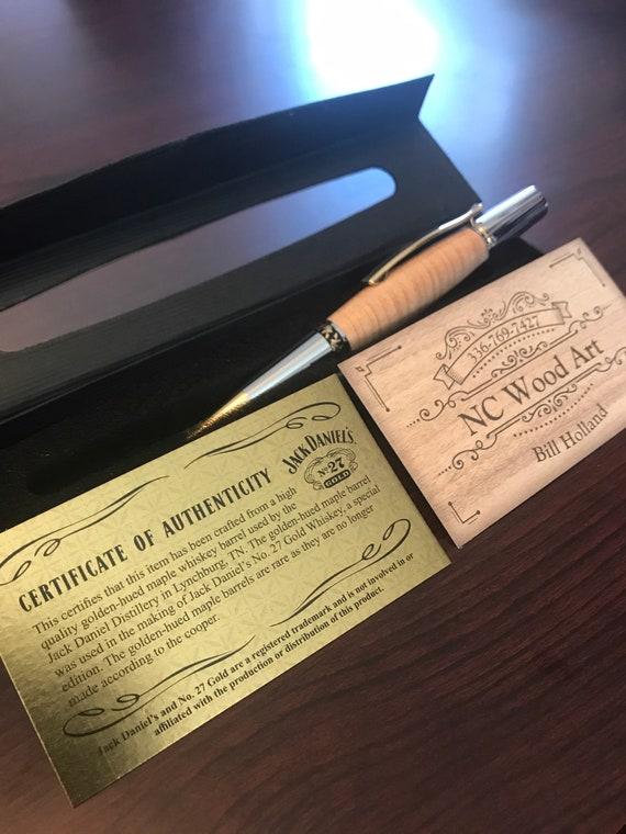 Authentic Jack Daniels Golden Maple 27 Gold Whiskey Barrel Wood Pen W COA And Presentation Box