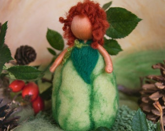 Green pumpkin child, large size - Waldorf inspired, needle felted, by Naturechild
