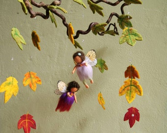 Autmnal fairies mobile, maple leaves - Waldorf inspired, needle felted, by Naturechild