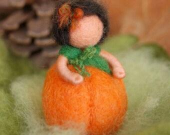 Little orange pumpkin child - Waldorf inspired, needle felted, by Naturechild