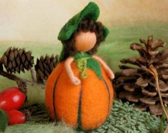 Orange pumpkin child, medium size - Waldorf inspired, needle felted, by Naturechild