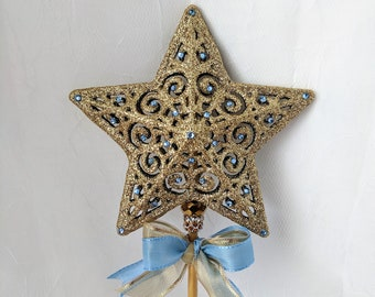 Gold Star Wand with Blue Rhinestone Accents