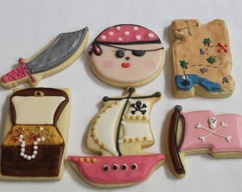 PINK Girl PIRATE  ship treasure map (set #6) Cookies favors  1 dozen