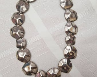Beautiful Silver tone metal Choker style necklace