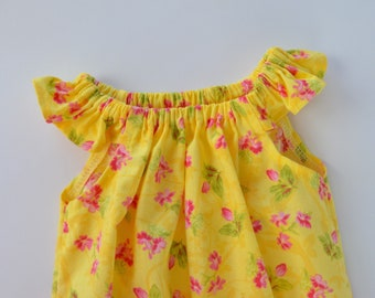 0323dd3a582 Girls flutter sleeve baby romper. Yellow floral. Size 000 or 00