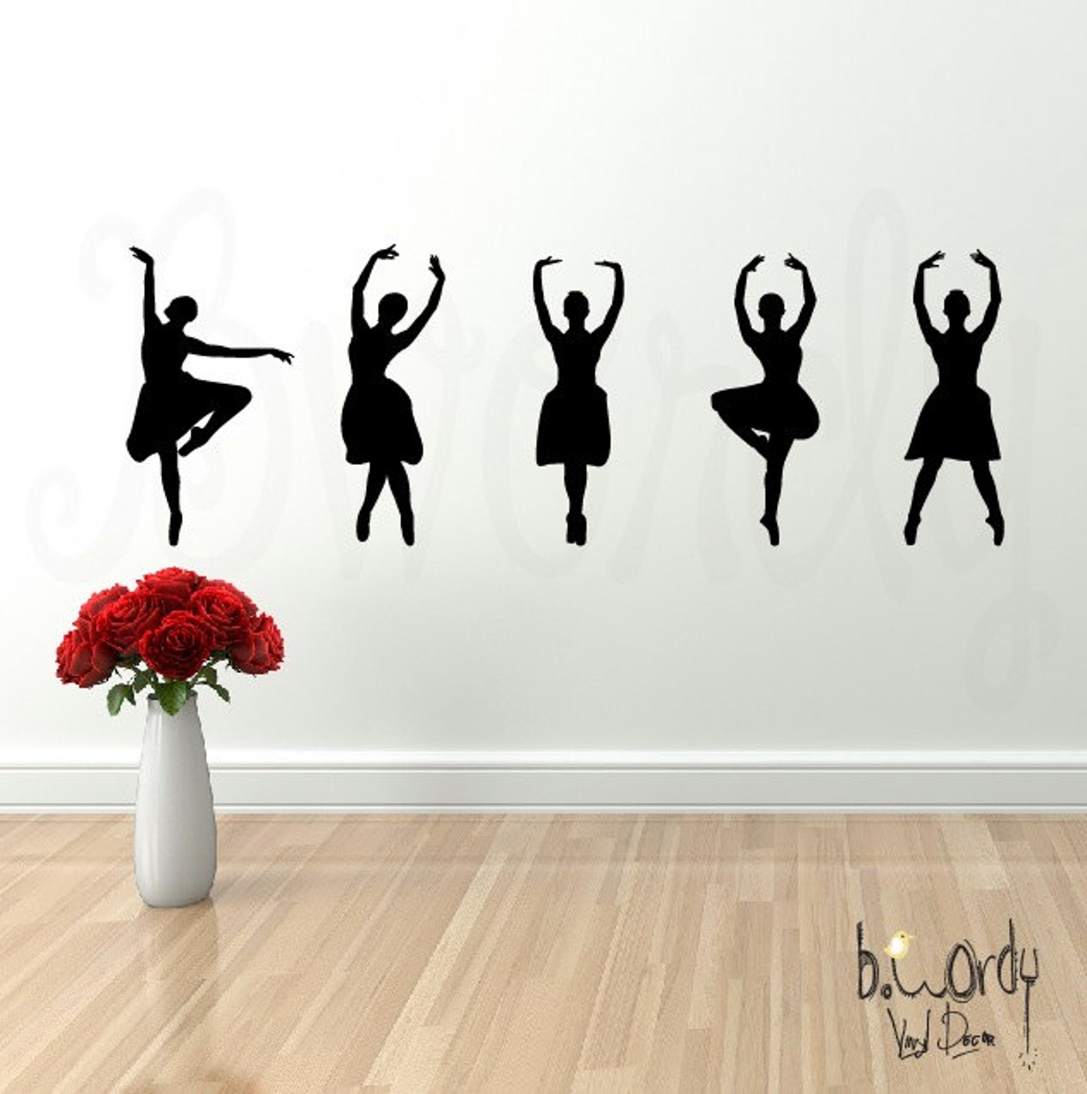 vinyl wall decal, dancing silhouettes, - wall lettering, bedroom decor, dancer,ballet, sticker