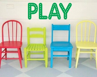 Play, Playroom, Vinyl Decal- Wall lettering, Bedroom, Playroom