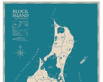 A Decorative Map of Block Island