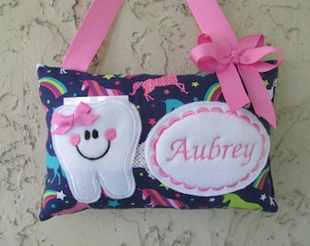 faba5284299adc Tooth Fairy pillow Personalized Unicorn