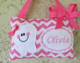 Tooth Fairy Pillow Pink Chevron Personalized