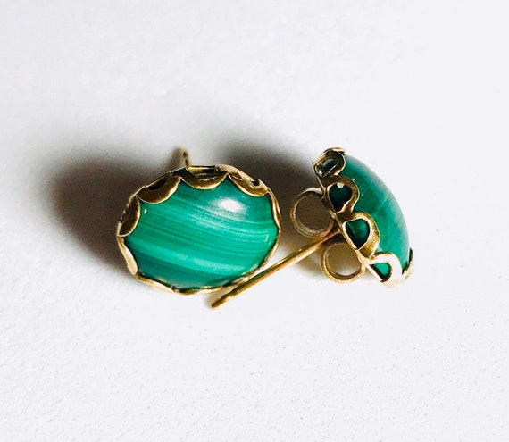 12mm Malachite Green Stone Gold Stud Vintage Earri