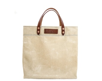 Grocery Tote Bag - Waxed Canvas - Natural