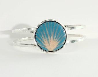 Turquoise and gold enamel bracelet, enameled bracelet,  bangle bracelet, torch fired copper enameled jewelry, white jewelry, copper bracelet