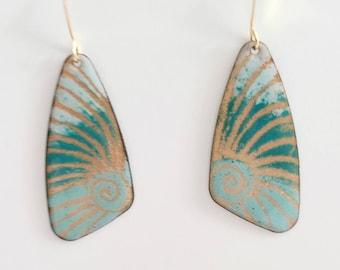 Enameled copper  butterfly wing earrings, gold and turquoise copper enamel earrings, butterfly jewelry,  boho earrings, hippie earrings