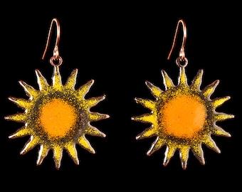 Enameled copper sun earrings, yellow enamel sun earrings, celestial earrings, colorful earrings, boho, hippie earrings, beachy/tropical